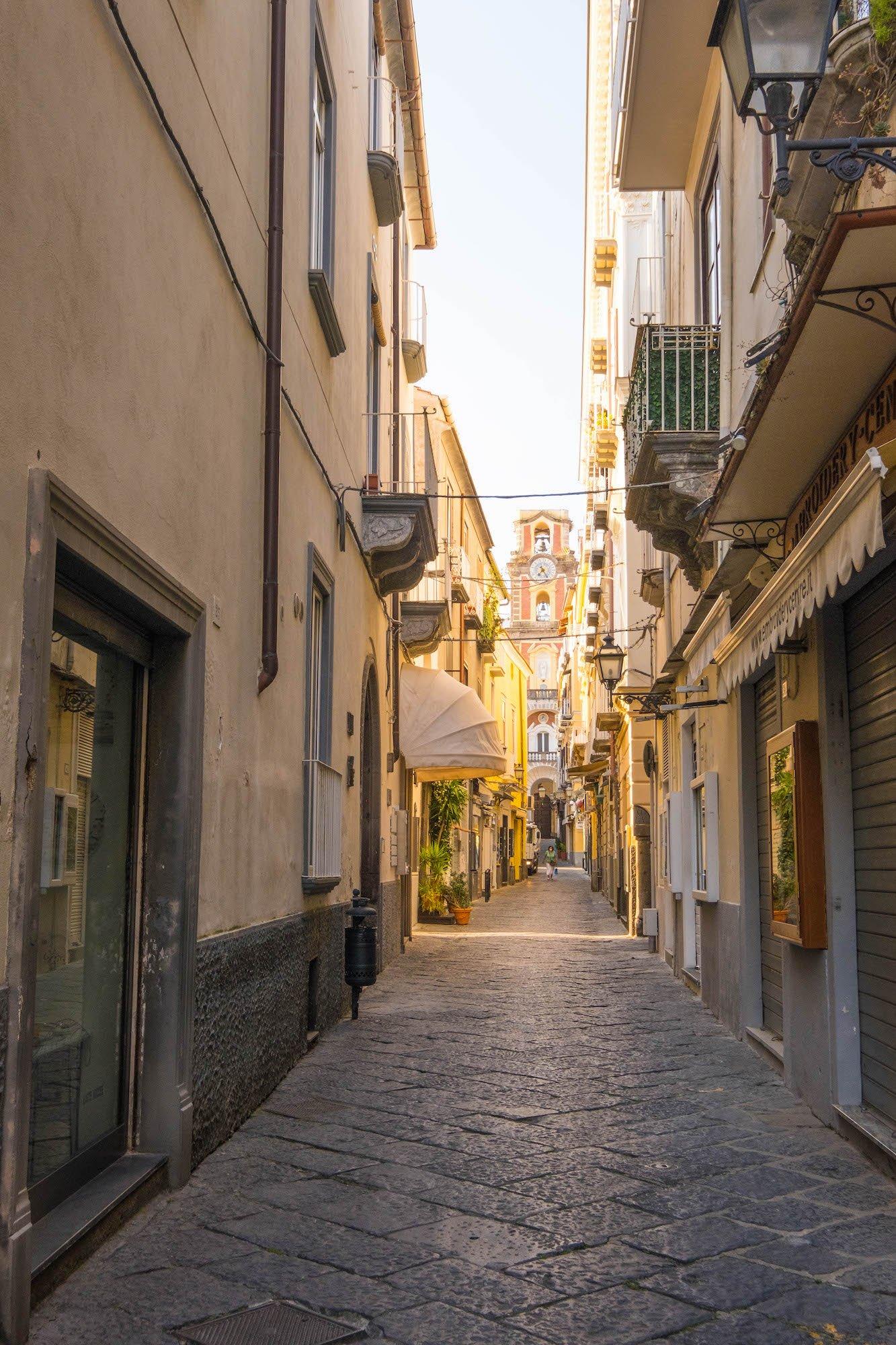 Sorrento Street leads to Basilica of San Antonino.