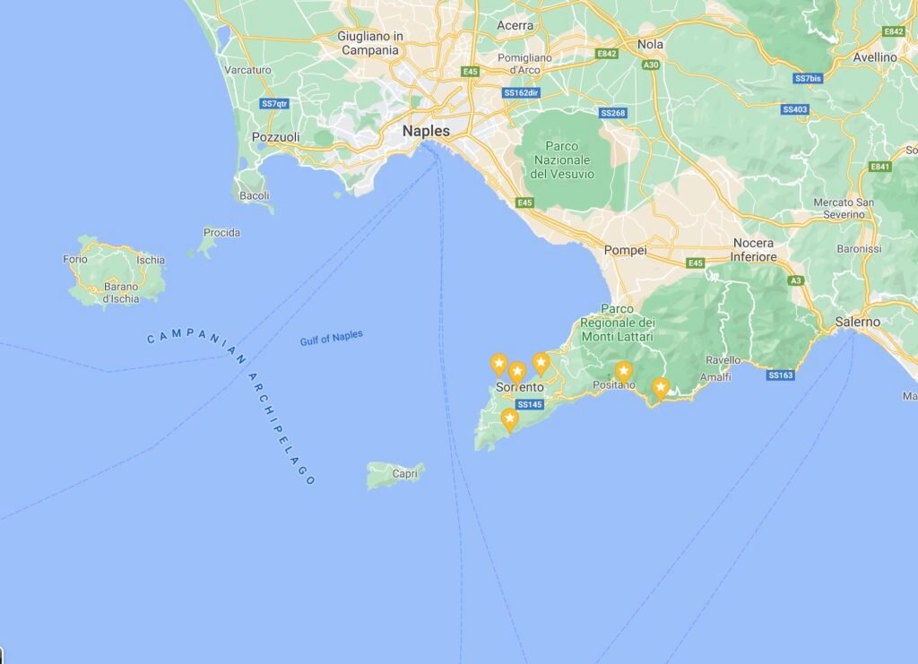 Map of Campania that shows the location of Sorrento and Sorrentine Peninsula