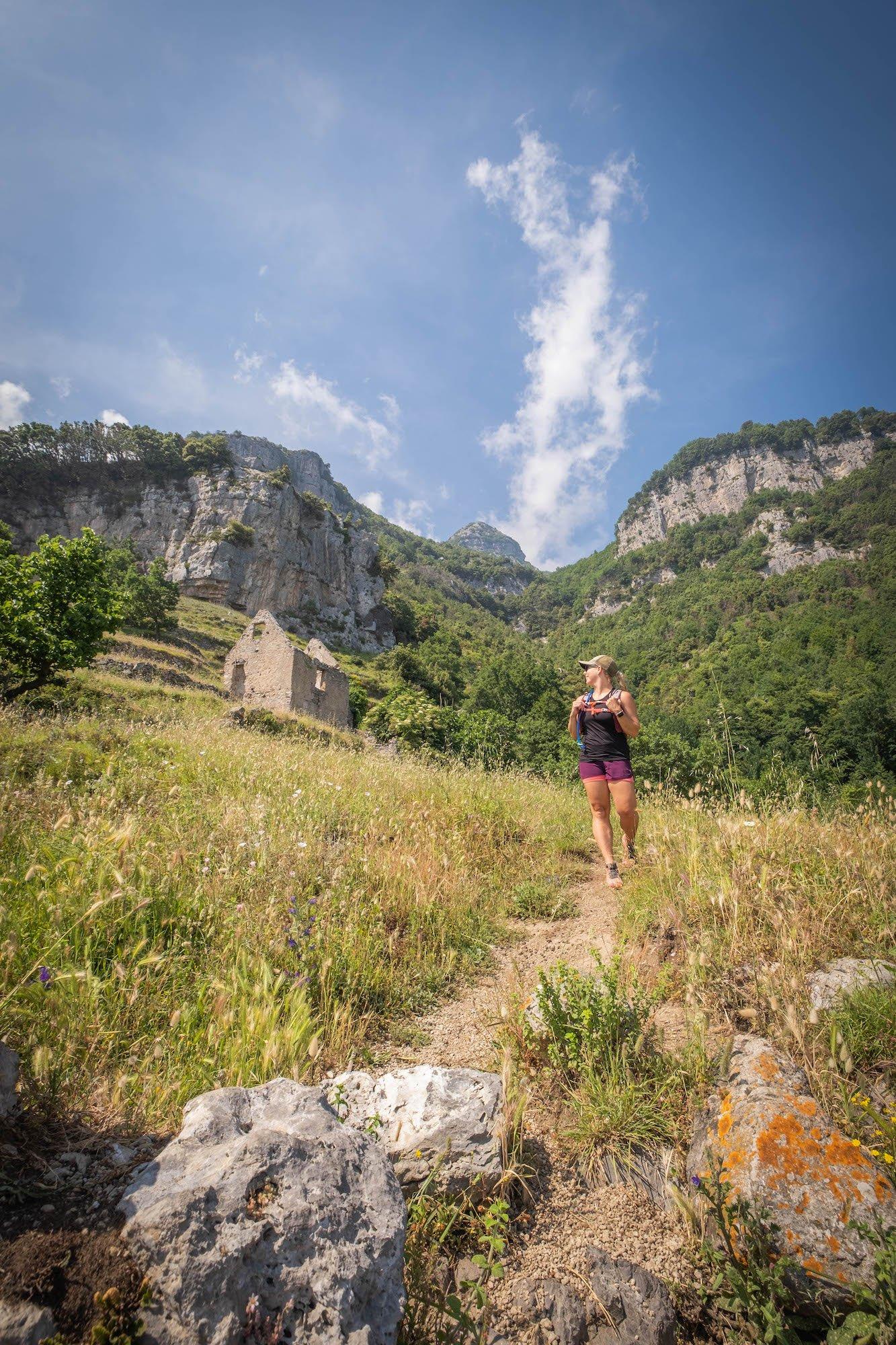 Natasha hiking on the path of the Gods