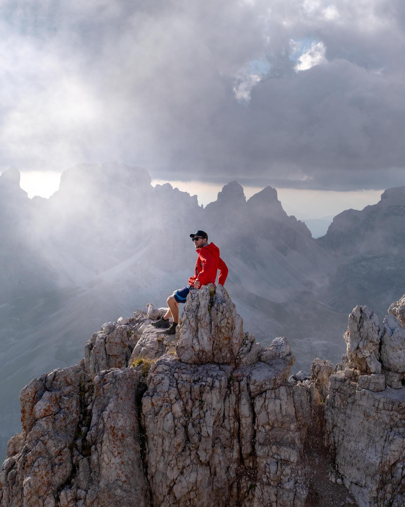 Cameron on the summit of Monte Paterno summit in Dolomites
