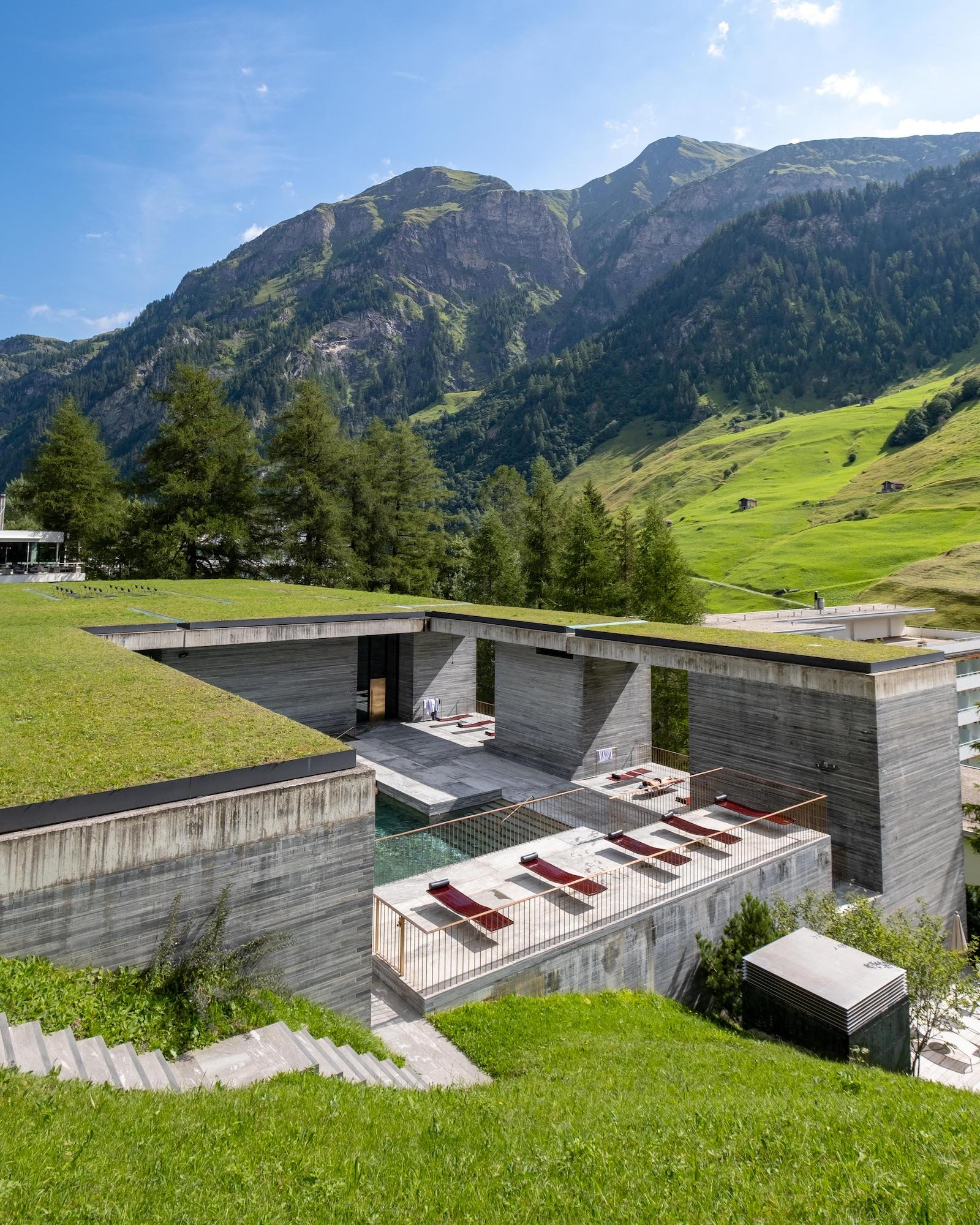 Exterior of Therme Vals in Sunshine