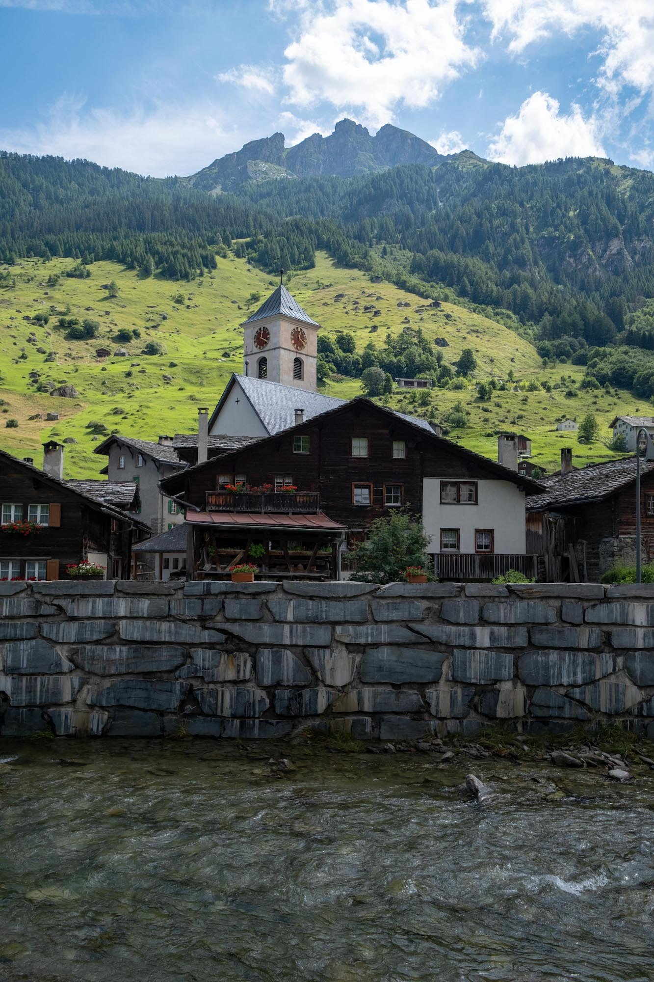 Village of Vals with mountains
